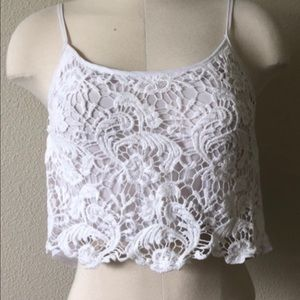 LA Hearts Sheer Crop Top with Lace Detail